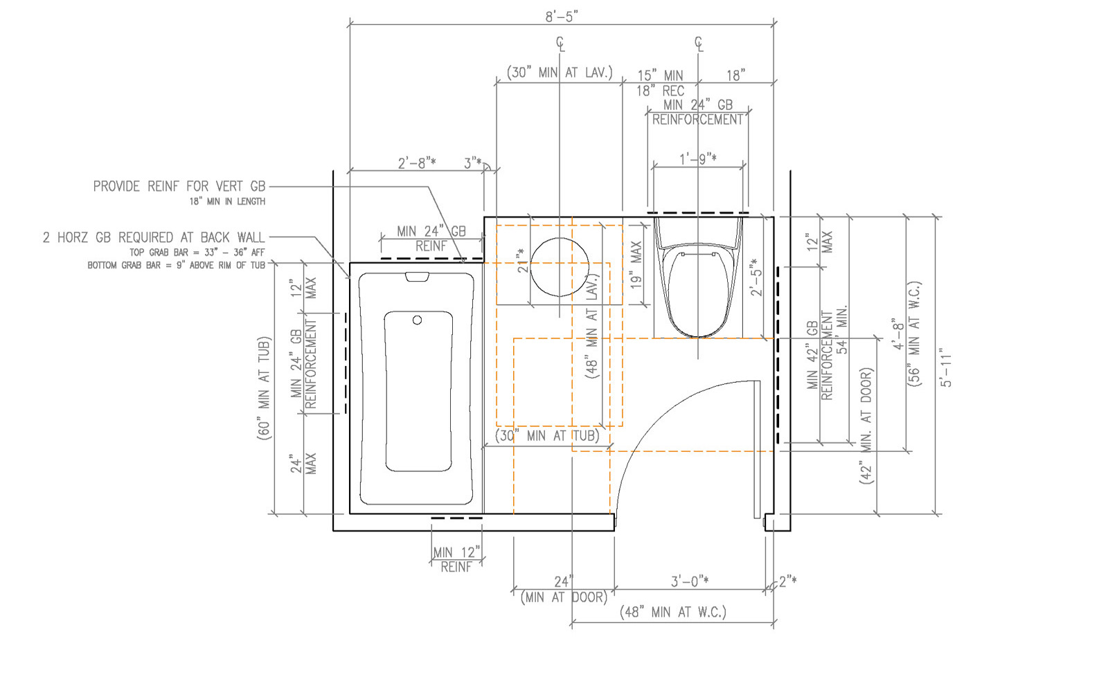 ada handicap bathroom layout